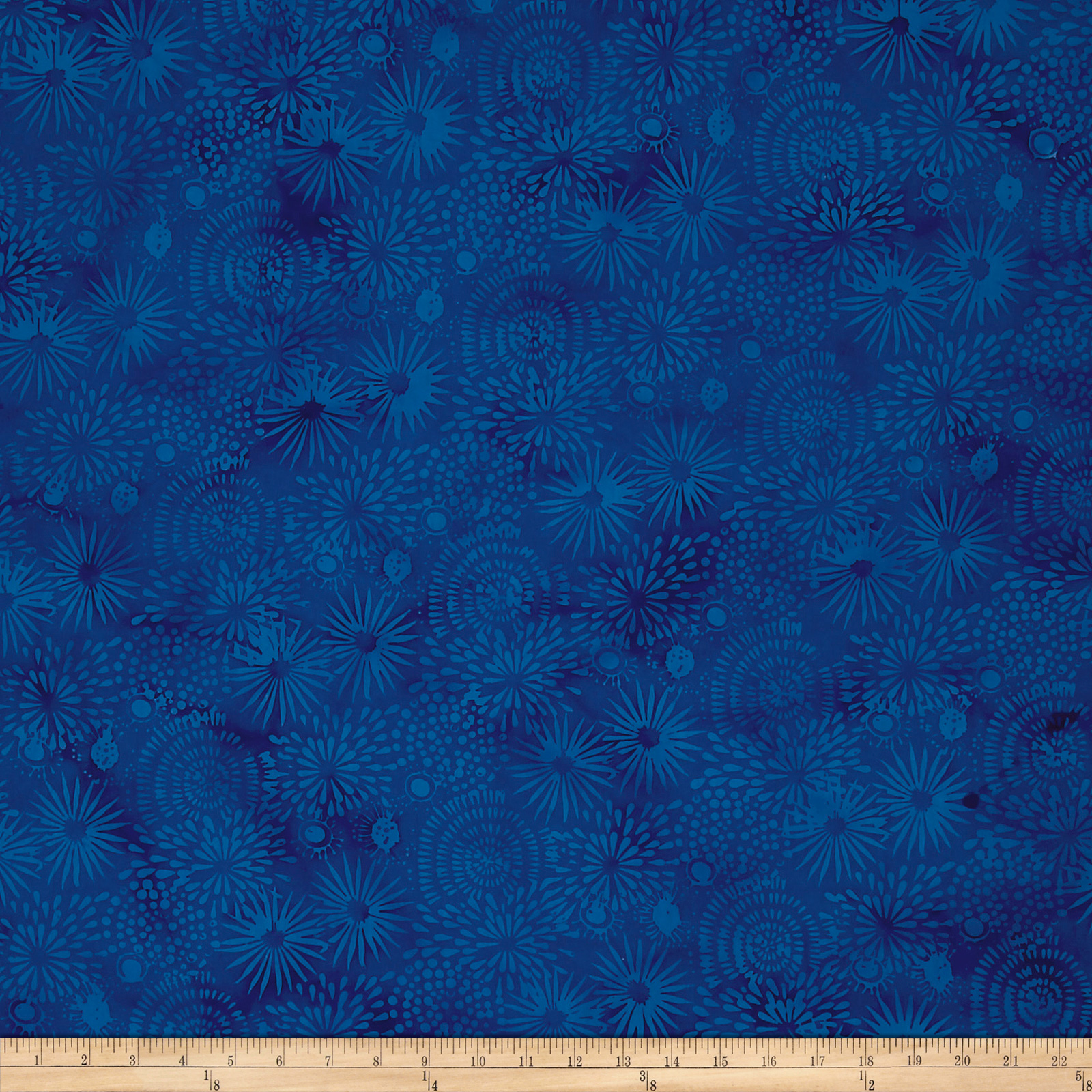 Image of Island Batik Pressed Petals Large Mixed Floral Blueberry Fabric