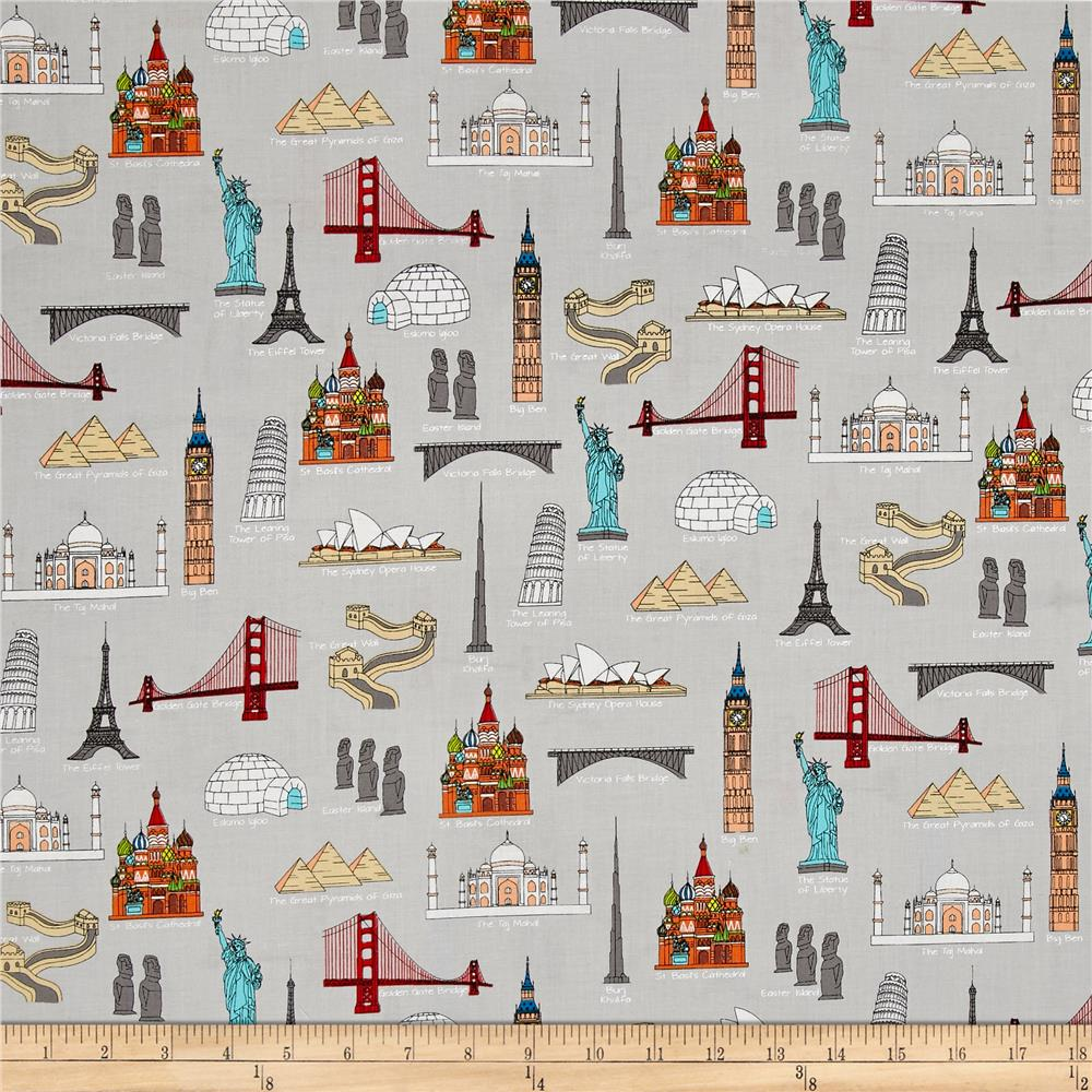 We share one world landmarks multi discount designer for Fabric world