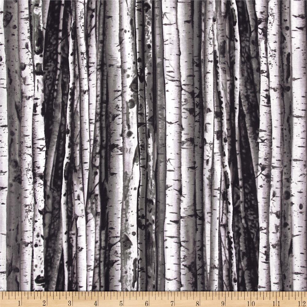 Big W Shower Curtain Birch Tree Art