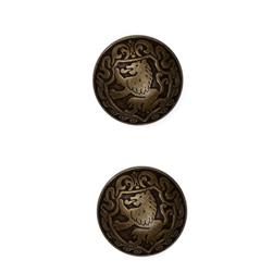 Metal Button 7/8'' Lion Heart Antique Brass