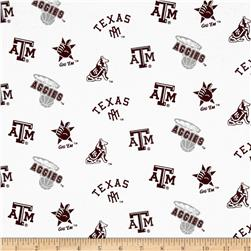 Collegiate Cotton Broadcloth Texas A&M University White Fabric