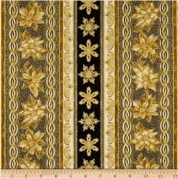 Holiday Flourish Metallic Stripe Antique Black