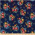 Newport Flannel Small Floral Navy