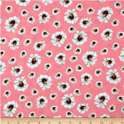 Rayon Challis Floral Pink/White Fabric