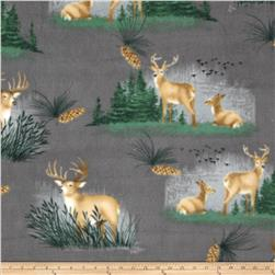 Winterfleece Peaceful Deer Grey Fabric