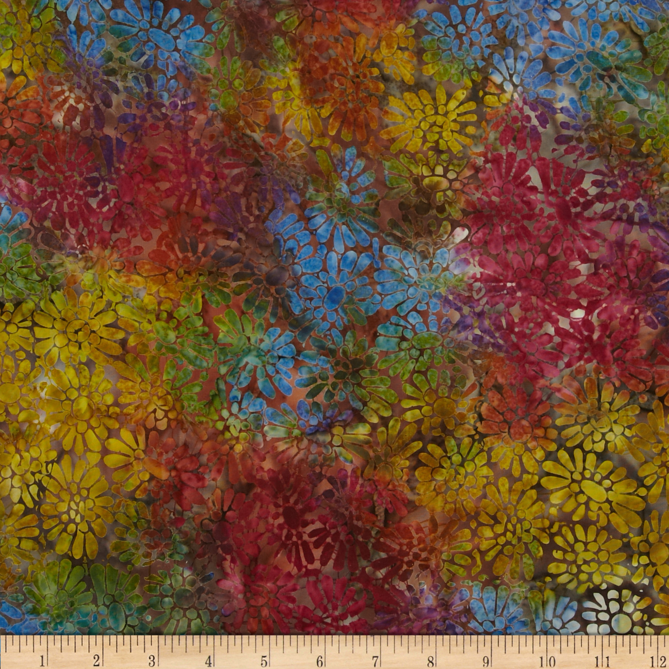 Batavian Batiks Flower Power Brown/Multi Fabric