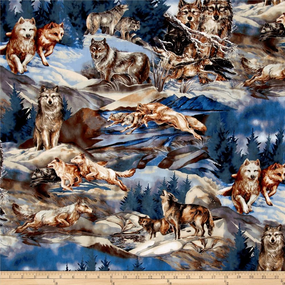 Kaufman North American Wildlife 4 Wolf Collage Nature