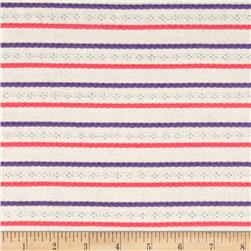 Pointelle Jersey Knit Lavender/NeonPink Embroidery Stripes on Ivory
