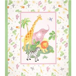 Safari Baby Quilt 36 In. Panel Pink