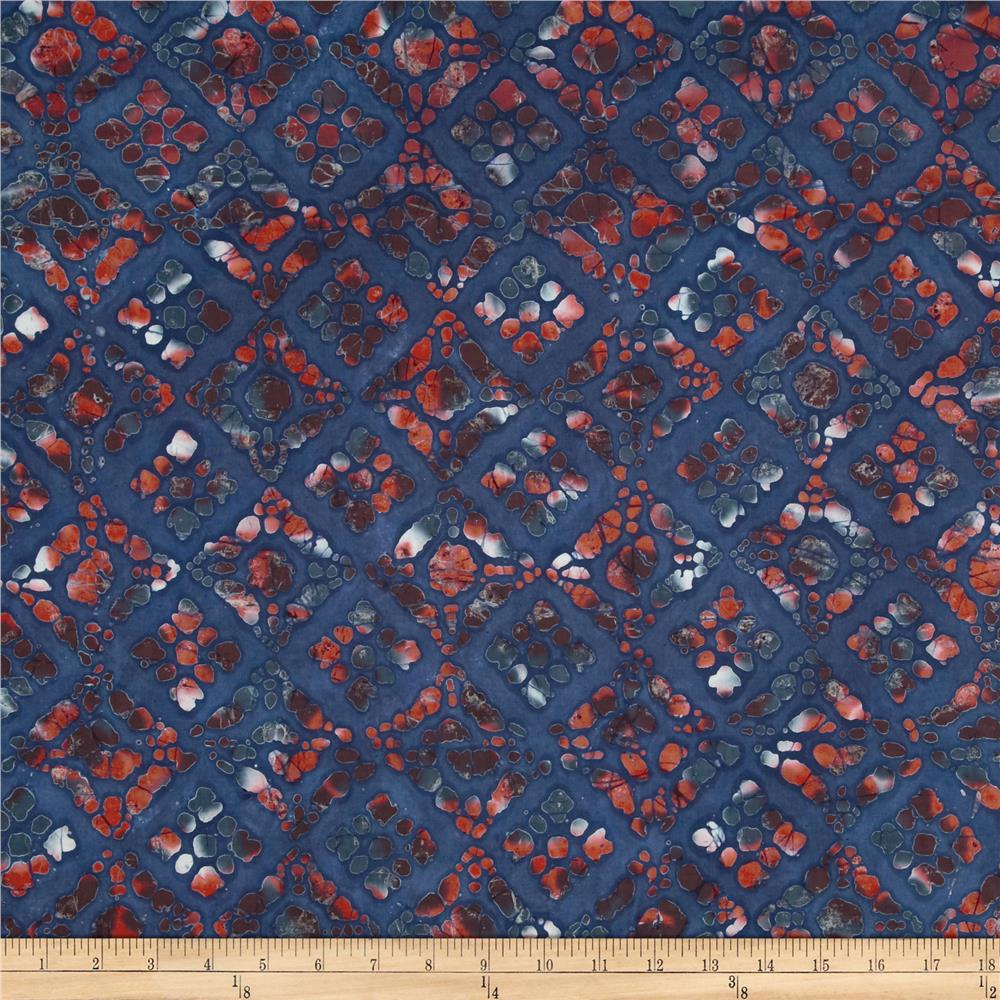 Indian Batik Block Print Navy/Red