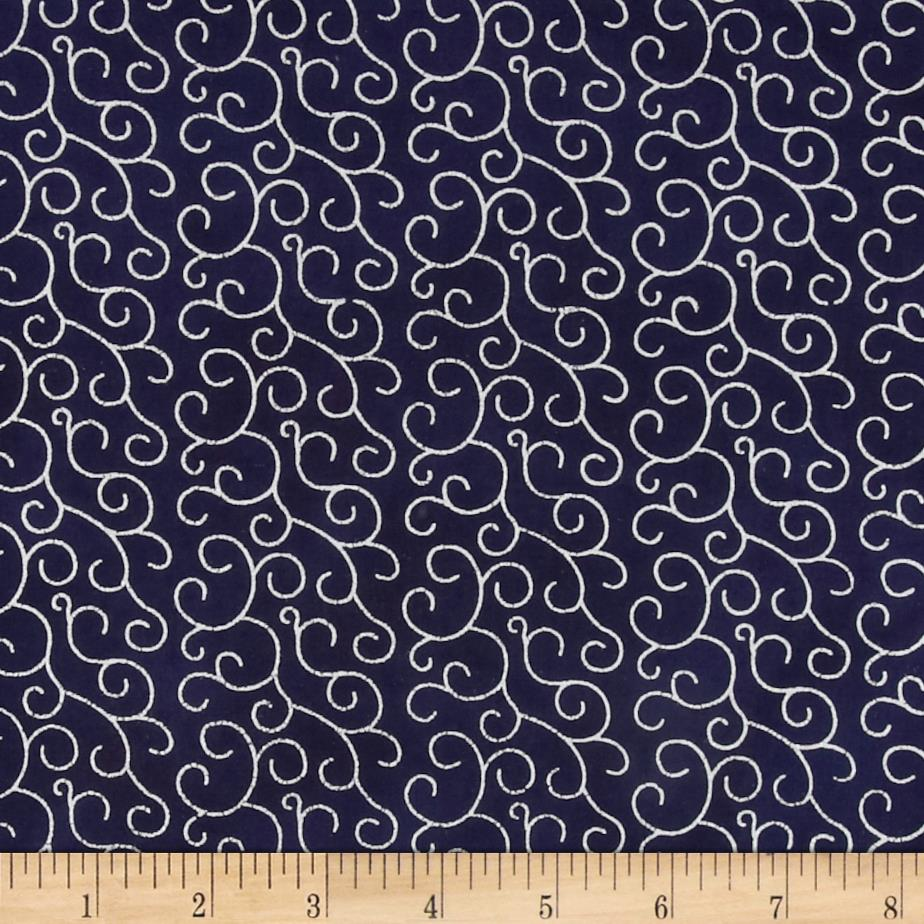 Island Batik Metallic Swirls Navy
