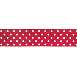 "May Arts 1 1/2"" Grosgrain Dots Ribbon Spool Red/White"