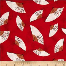 Hanami Falls Fan Toss Red Fabric
