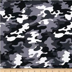 Kaufman Laguna Stretch Jersey Knit Camouflage Black Fabric