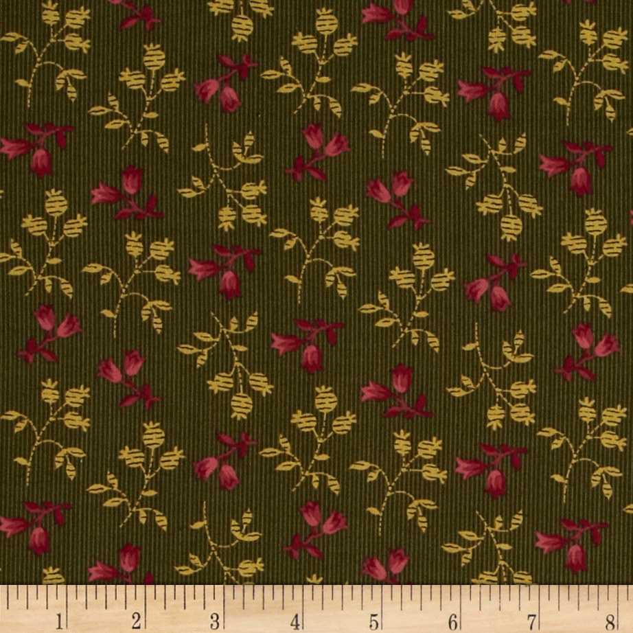 Prairie Home and Companions Pin Stripe Floral Green/Mauve
