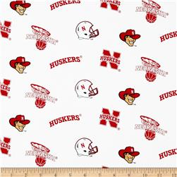 Collegiate Cotton Broadcloth University of Nebraska White