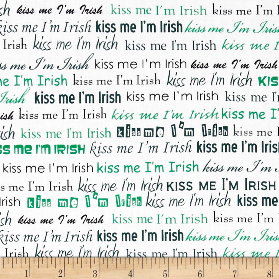 Kiss Me I'm Irish Words White