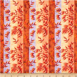 Elk Gathering Striped Leaves Orange