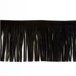 4'' Faux Suede Fringe Trim Black