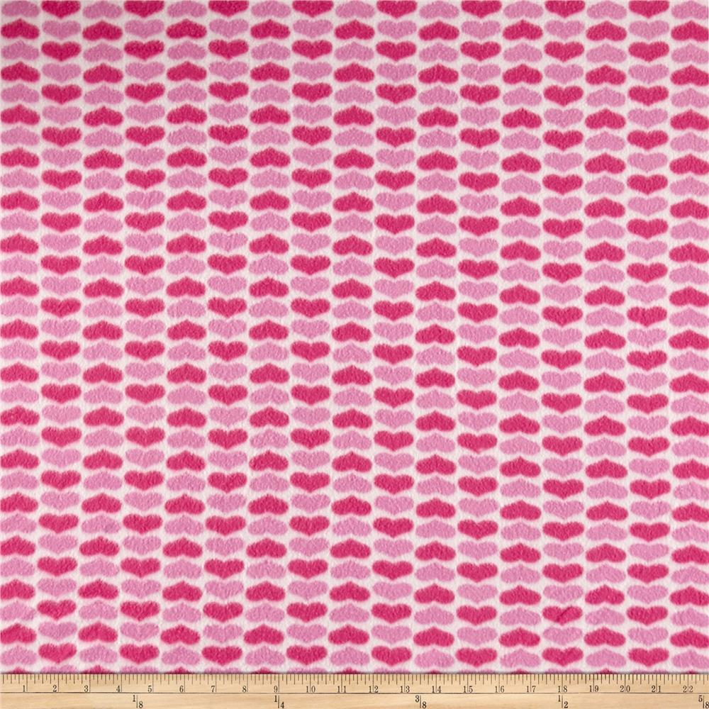 Polar Fleece Hearts Pink Fabric