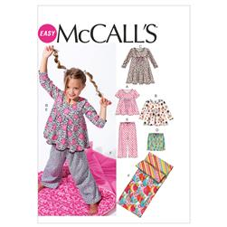 McCall's Children's/Girls' Tops, Dress, Shorts, Pants and Sleeping Bag Pattern M6643 Size CX0