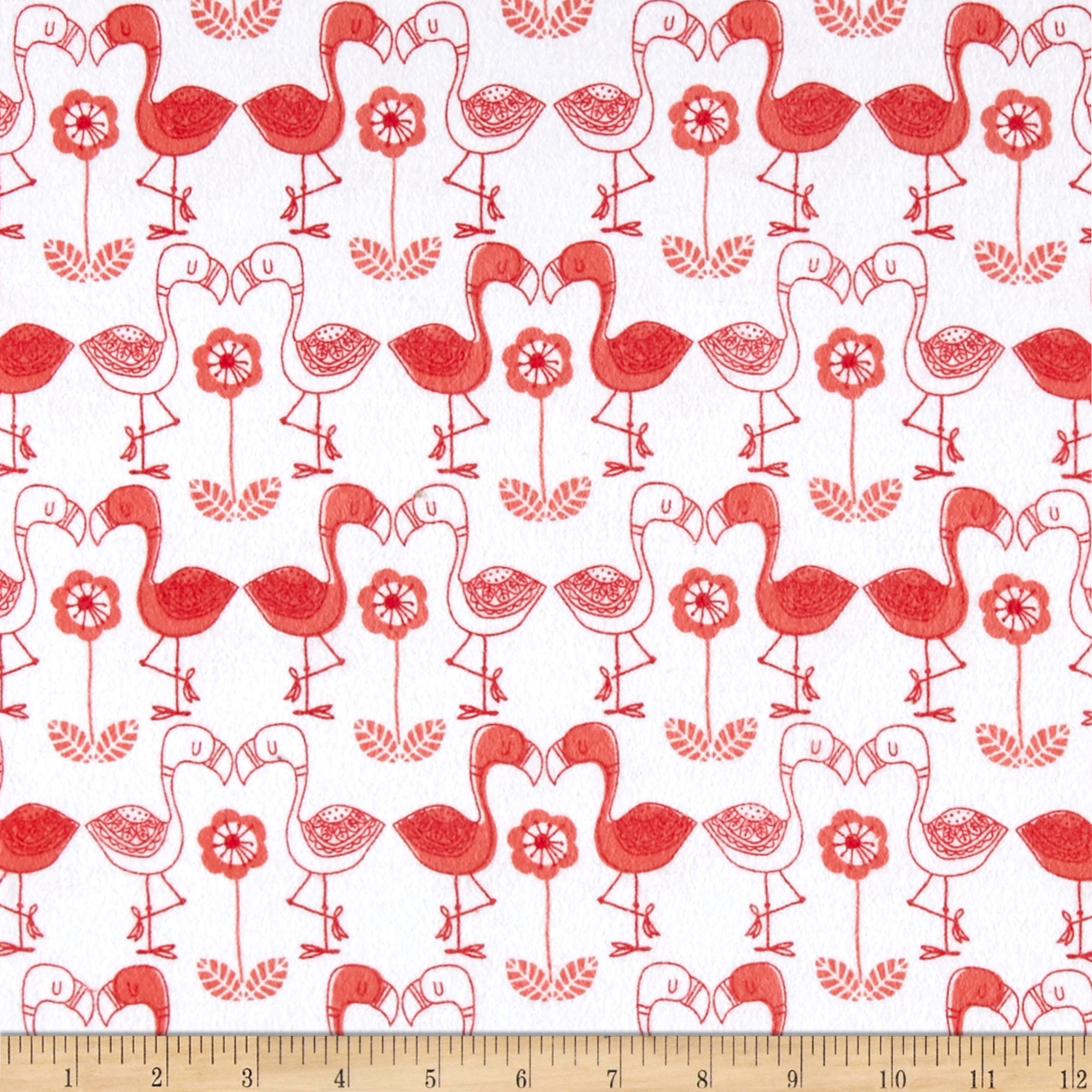 Flannel Flamingo Kisses White Fabric by Eugene in USA