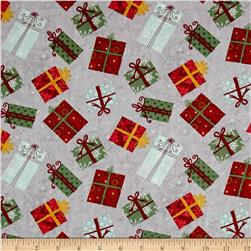 Wilmington Frosted Holiday Presents Allover Gray