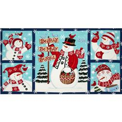 Moda Be Jolly Snowman Panel Midnight Blue