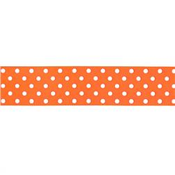 "1.5"" Grosgrain Polka Dots Orange/White"