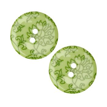 Fashion Button 1'' Damask Flower Lime