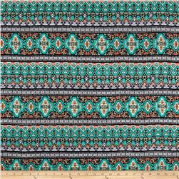 Rayon Challis Bohemian Turquoise/Orange/Black