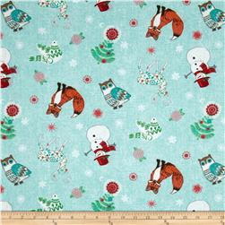 Chalkboard Snowman Allover Characters Teal