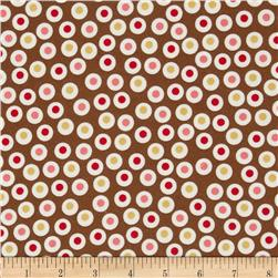 Zoe & Zack Flannel Circle Dots Brown/Pink Fabric