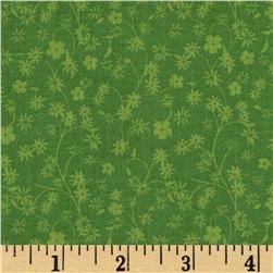 Floral Winding Vines Tonal Green