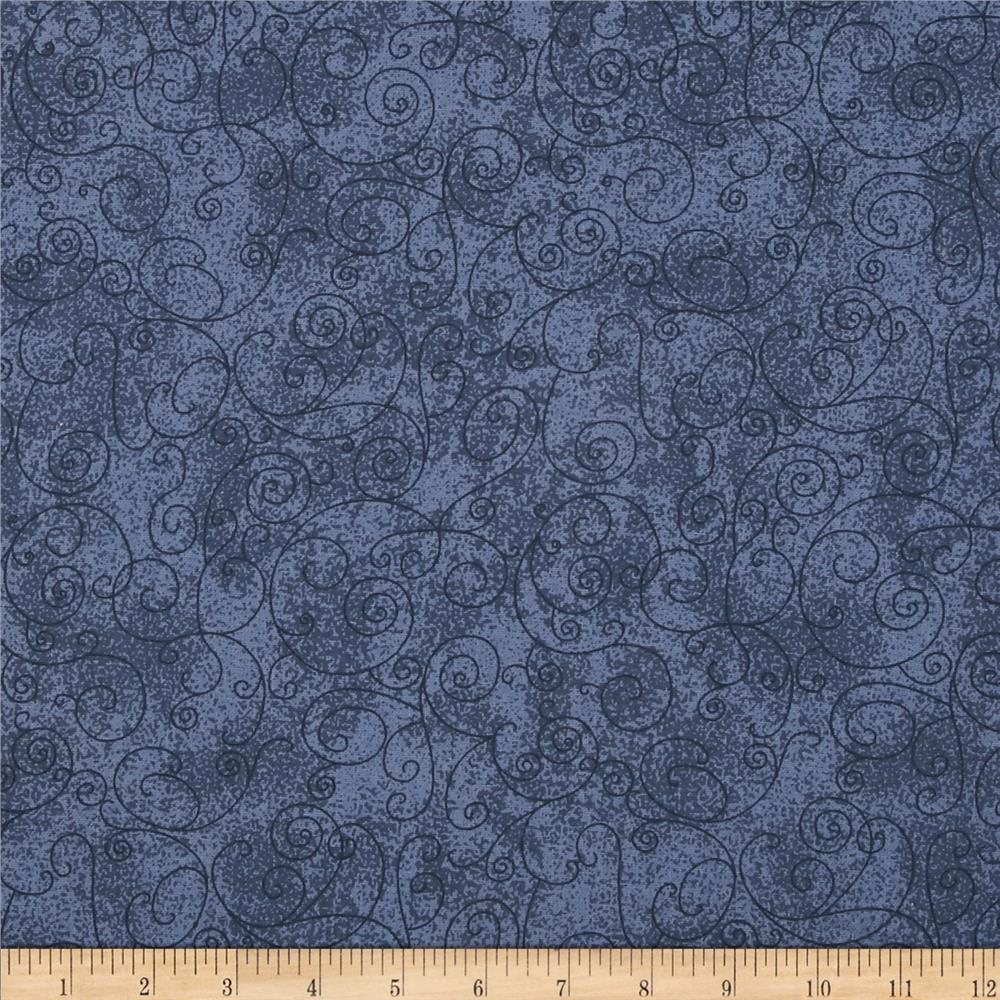 "110"" Wide Flannel Scroll Blue"