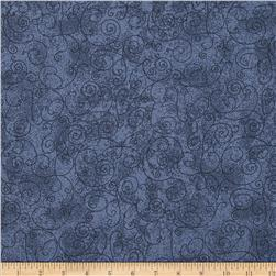 110'' Wide Flannel Scroll Blue