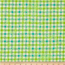 Embroidered Plaid Aqua/Green/Cream