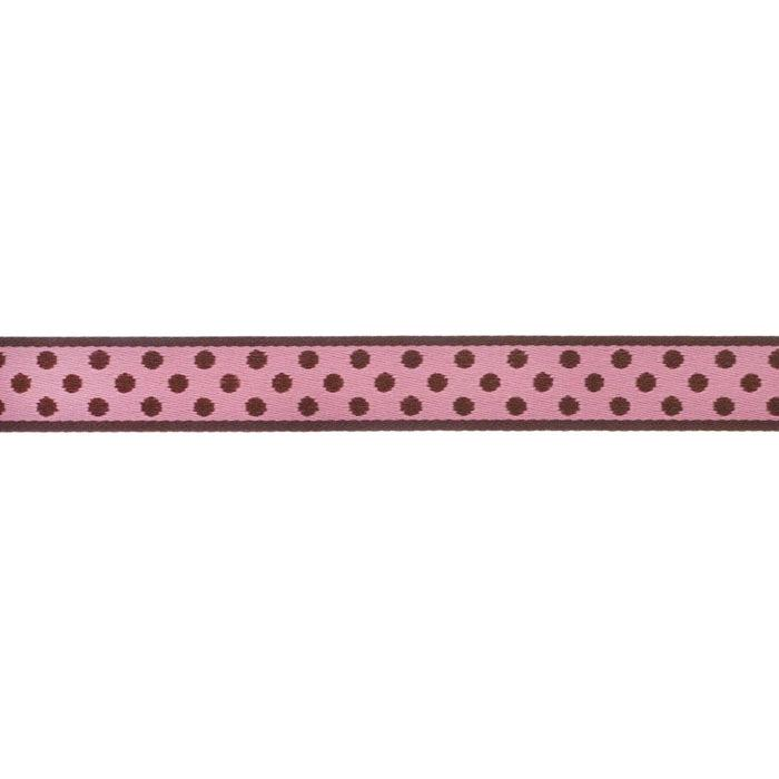 5/8'' Ribbon Polka Dot Brown/Pink