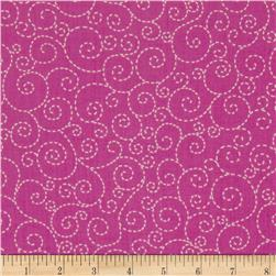 Timeless Treasures Stitch Scroll Pink
