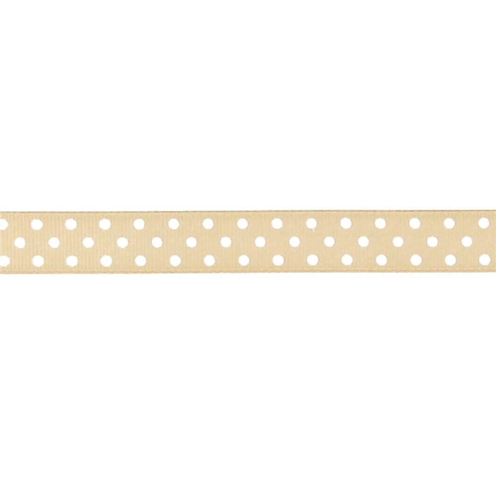 "May Arts 5/8"" Grosgrain Dots Ribbon Spool Beige/White"