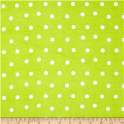 Flannel Polka Dots Lime Fabric