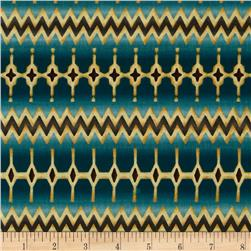 Zoe Verve Stripe Border Teal Fabric