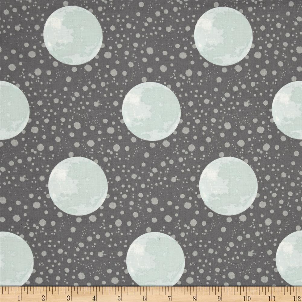 To the moon back earth dark grey discount designer for Planet print fabric