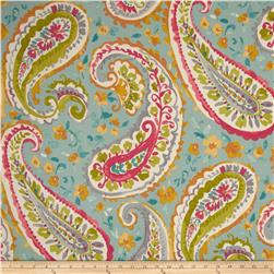 P Kaufmann Watercolors Paisley Twill Turquoise Fabric