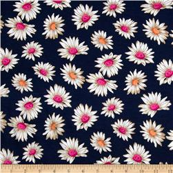 Dakota Stretch Rayon Jersey Knit Flowers Navy