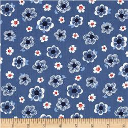 French Navy Tossed Flowers Light Blue