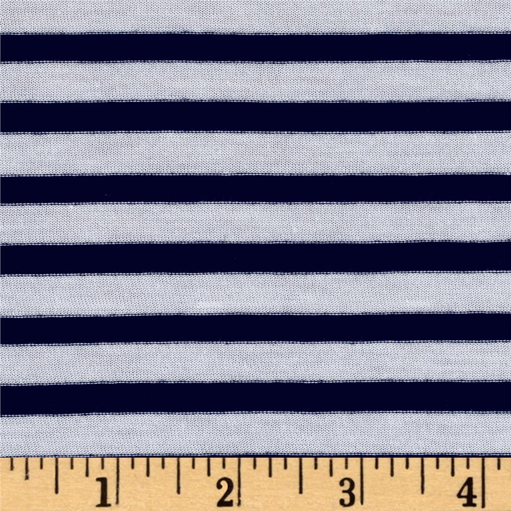 Designer jersey knit stripe nautical navy white discount for Where to order fabric