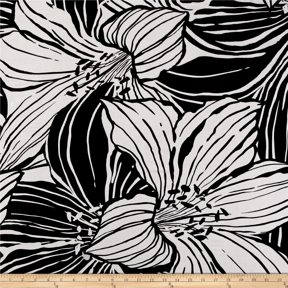 Rayon Challis Floral Print Black White Discount Designer Fabric