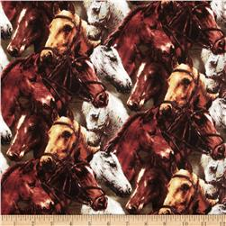 World of Horses Packed Horses Brown Fabric