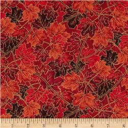 Maple Lane Metallic Packed Leaves Red Fabric